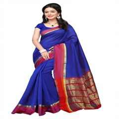 Mahadev Enterprises Blue  Cotton Silk Weaving Saree With Running Blouse Pics ( Code - RJM1128E )