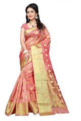 Mahadev Enterprises Cream Cotton Jacquard Butty Saree With Blouse RJM1129A