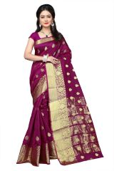 Mahadev Enterprises Wine Cotton Jacquard Butty Saree With Blouse RJM1129B