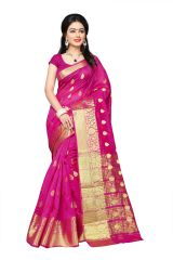 Mahadev Enterprises Pink Cotton Jacquard Butty Saree With Blouse RJM1129C