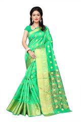 Mahadev Enterprises Sea_Green Cotton Jacquard Butty Saree With Blouse RJM1129E