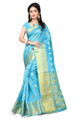 Mahadev Enterprises Sky_Blue Cotton Jacquard Butty Saree With Blouse RJM1129F