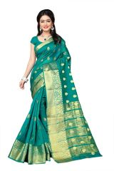 Mahadev Enterprises Green Cotton Jacquard Butty Saree With Blouse RJM1129G