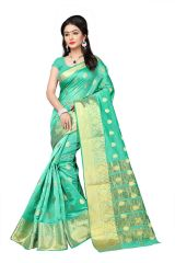 Mahadev Enterprises Sea_Green Cotton Jacquard Butty Saree With Blouse RJM1129I
