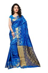 Mahadev Enterprise Blue Cotton Silk Weaving Saree With Running Blouse Pics ( Code - RJM1132D)