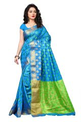 Mahadev Enterprise Sky Blue Cotton Silk Weaving Saree With Running Blouse Pics ( Code - RJM1132G)