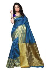 Mahadev Enterprise Multi Coloured Banarasi Cotton Silk Saree With Running Blouse Pics ( Code - RJM1133D)