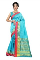 Mahadev Enterprise Sky Blue Cotton Silk Weaving Saree With Running Blouse Pics ( Code - RJM1166C)