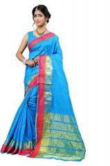 Mahadev Enterprise Light Blue Cotton Silk Weaving Saree With Running Blouse Pics ( Code - RJM1166E)