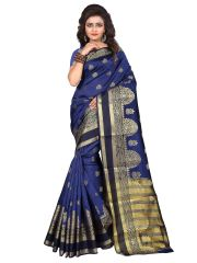 Mahadev Enterprise Navy Blue Cotton Silk Weaving Saree With Running Blouse Pics ( Code - RJM5005F)