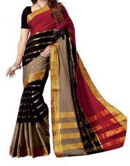 Mahadev Enterprises  Red & Black Color Bhagalpuri Cotton Silk Saree With Unstitched Blouse Pics SSC02