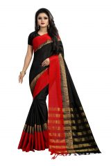 Mahadev Enterprise Black Poly Cotton Weaving Saree With Running Blouse Pics ( Code - VTR36)