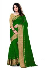 Mother's Day Gifts   Apparels - Mahadev Enterprises Green Color Cotton Saree With Unstitched Blouse Pics MWTS797D