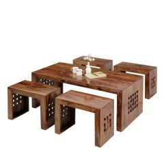 Inhouz Sheesham Wood Zig Zag Coffee Table (Teak Finish)