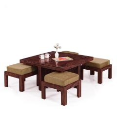 Inhouz Sheesham Wood Square Coffee Table Set (Mahogany Finish)