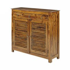 Inhouz Sheesham Wood Debour Shoe Rack (Teak Finish)