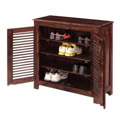 Inhouz Sheesham Wood Maccy Shoe Rack (Mahogany Finish)