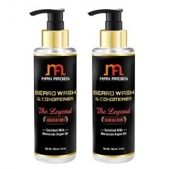 Man Arden Beard Wash (Shampoo) & Conditioner - The Legend (Arabian Oudh) - With Moroccan Argan Oil 100ml - Pack Of 2