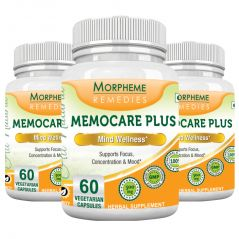 Morpheme Memocare Plus - 500mg Extract - 60 Veg Caps - 3 Bottles