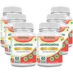 Morpheme Ashwagandha (Withania Somnifera) 500mg Extract 60 Veg Caps - 6 Bottles