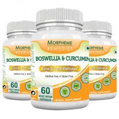 Morpheme Boswellia & Curcumin 500mg Extract 60 Veg Caps - 3 Bottles