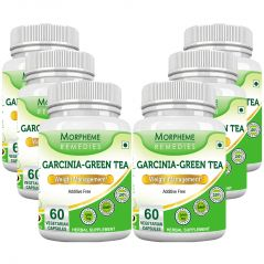 Morpheme Garcinia Green Tea - 500mg Extract 60 Veg Caps - 6 Bottles