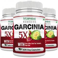 Morpheme Garcinia 5X (Garcinia, Coffee, Green Tea, Forskolin, Grape Seed) 60 Veg Caps - 3 Bottles