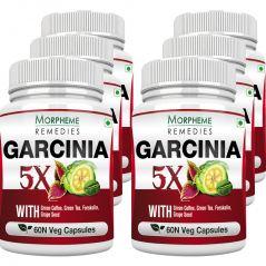 Morpheme Garcinia 5X (Garcinia, Coffee, Green Tea, Forskolin, Grape Seed) 60 Veg Caps - 6 Bottles