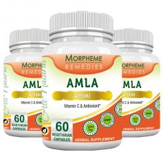 Morpheme Amla Caps Vitamin C & AntiOxidant 500mg Extract 60 Veg Caps - 3 Bottles