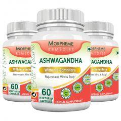 Health Supplements - Morpheme Ashwagandha (Withania somnifera) - 500mg Extract 60 Veg Caps - 3 Bottles