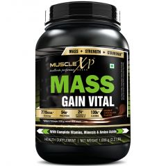 MuscleXP Mass Gainer With MultiVitamins - 1Kg (2.2 Lbs), Double Chocolate - With Whey Protein