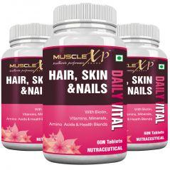 MuscleXP Biotin Hair, Skin & Nails Advanced MultiVitamin - 60 Tablets X 3 Bottles