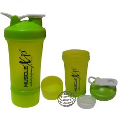 MuscleXP AdvancedStak Protein Shaker With Steel Ball (Neon Green) 500ml - Design 3