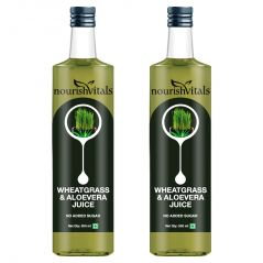 NourishVitals WheatGrass With AloeVera Juice 500ml - No Added Sugar - 2 Bottles