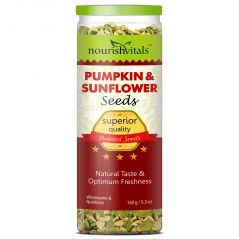 Nutty Snacks - NourishVitals Roasted Pumpkin & Sunflower Seeds (Superior Quality) - 150 gm