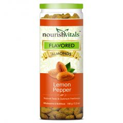NourishVitals Roasted Almonds Lemon Pepper Flavored - 150 gm