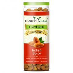 Dry Fruits - NourishVitals Roasted Almonds Indian Spice Flavored - 150 gm