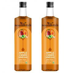 Vinegar - NourishVitals Apple Cider Vinegar with Ginger, Garlic, Lemon and Honey 500ml x 2 Bottles