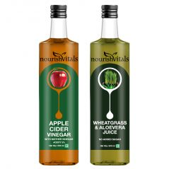 NourishVitals Apple Cider Vinegar 500ml + WheatGrass With AloeVera Juice 500ml