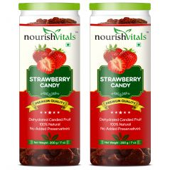 Dried Fruits - NourishVitals Strawberry Dried Fruit (Dehydrated Fruits) - 200 gm - Pack Of 2