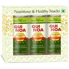 Nutty Snacks - NourishVitals Roasted Quinoa (Superior Quality) - 250 gm - Pack Of 3