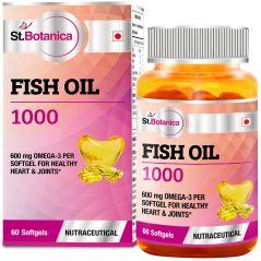 St.Botanica Fish Oil 1000 mg (Double Strength) - 600 mg Omega 3 - 60 Softgels