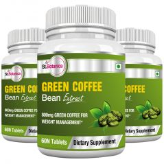 StBotanica Green Coffee Bean Extract - 800mg - 60 Tablets - Pack of 3