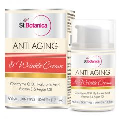 St.Botanica AntiAging & Anti Wrinkle Cream 50ml (With Co-Q10, Hyaluronic Acid, Vitamin E & Argan Oil)