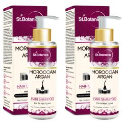 St.Botanica Moroccan Argan Hair Shampoo 100ml - Free from SLS, Paraben (With Silk Protein & Oils) - Pack of 2