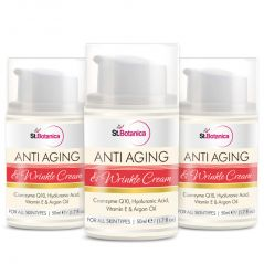 St.Botanica AntiAging & Anti Wrinkle Cream 50ml (With Co-Q10, Hyaluronic Acid, Vitamin E & Argan Oil) - Pack Of 3