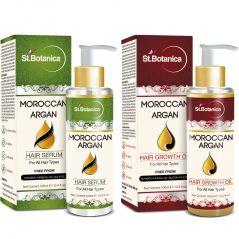 St.Botanica Moroccan Argan Hair Serum + Hair Growth Oil - 100 Ml (1+1 Bottle)