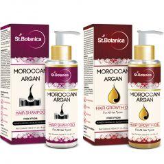 St.Botanica Moroccan Argan Hair Shampoo + Hair Growth Oil - 100 Ml (1+1 Bottle)