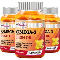 St.Botanica Fish Oil 1000mg - 300mg Omega 3 - 60 Softgels - Pack of 3