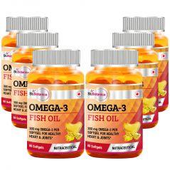 St.Botanica Fish Oil 1000mg - 300mg Omega 3 - 60 Softgels - Pack of 6